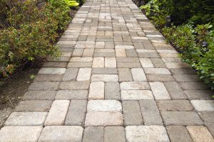 Stone hardscape walkway